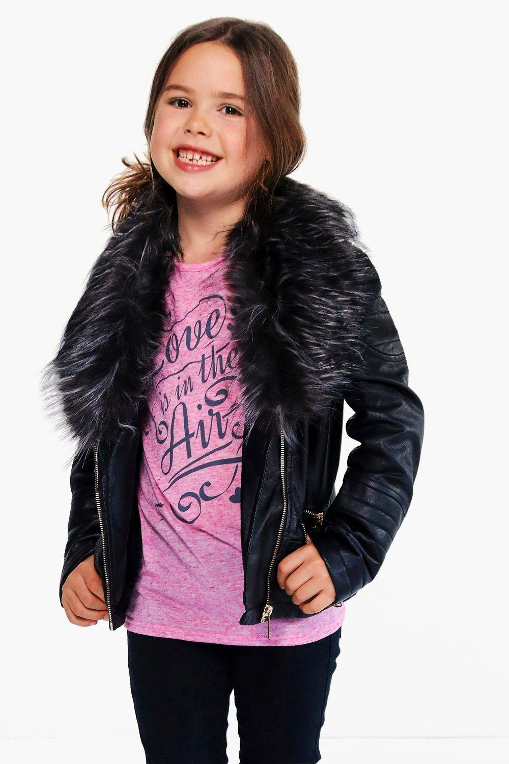 Girls Leather Jacket Black