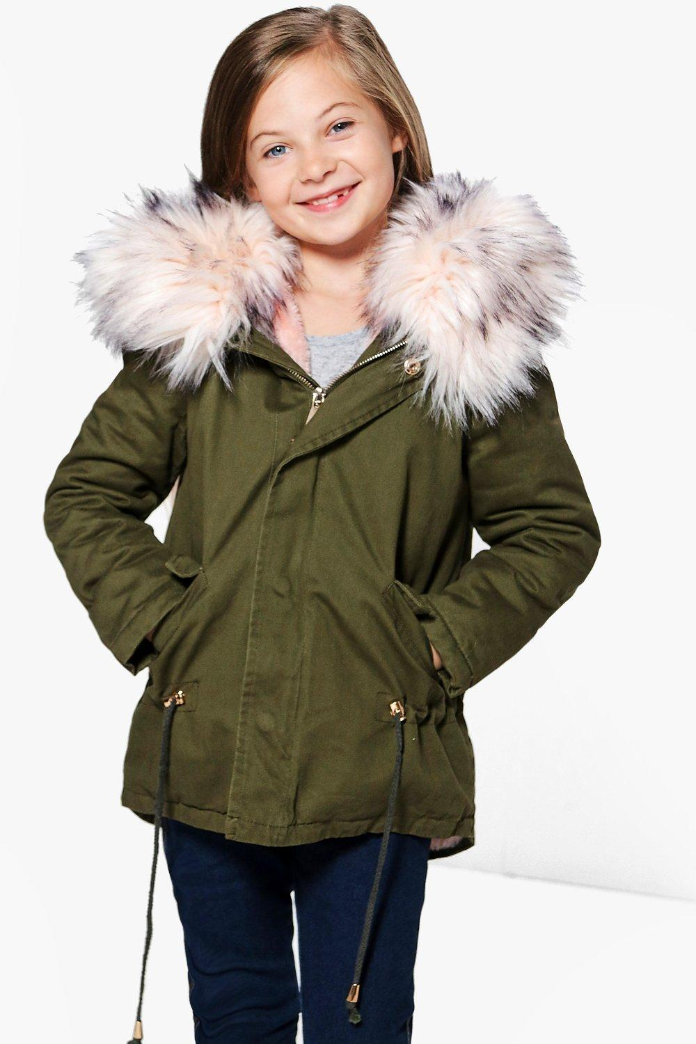 Girls Boutique Padded Faux Fur Hooded Parka