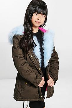 Girls Baby Blue Fur Hooded Parka