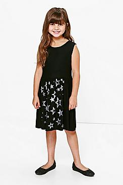 Girls Star Print Glitter Dress