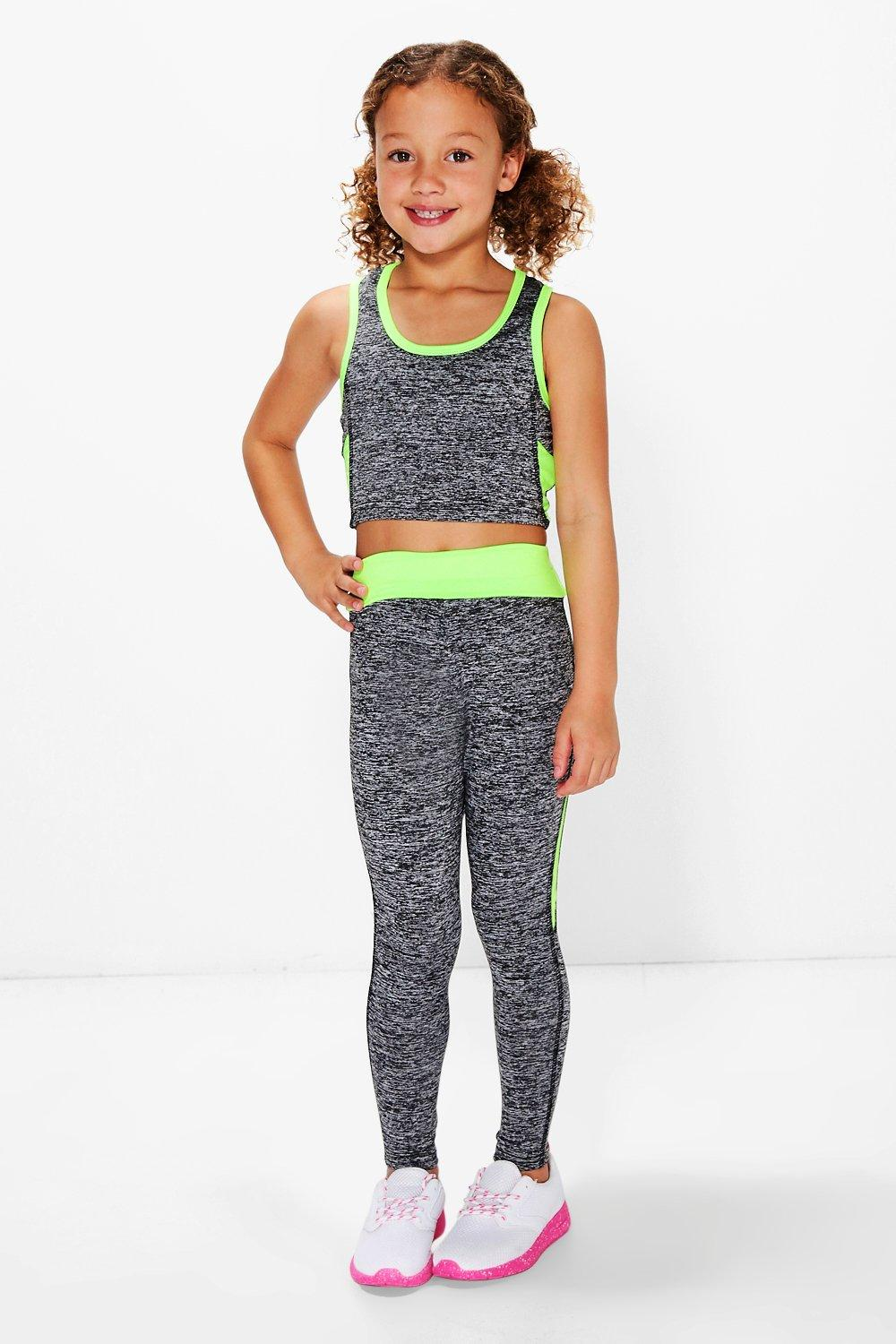 Product photo of Sports crop top and legging sports set green