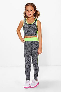 Girls Sports Crop Top And Legging Sports Set