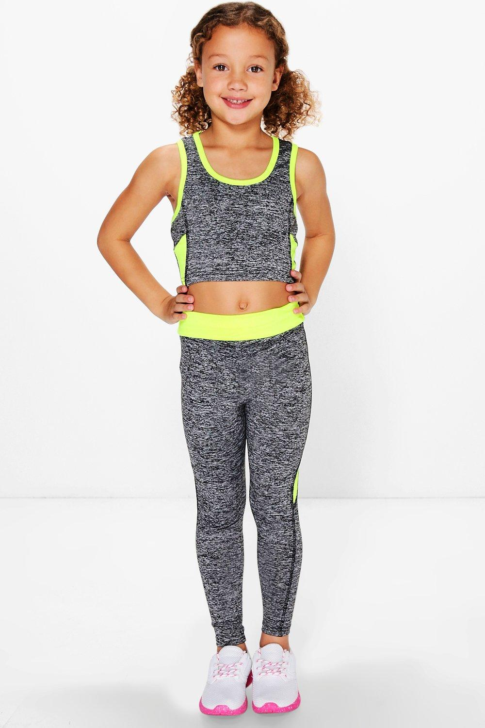 Product photo of Sports crop top and legging sports set neonyellow