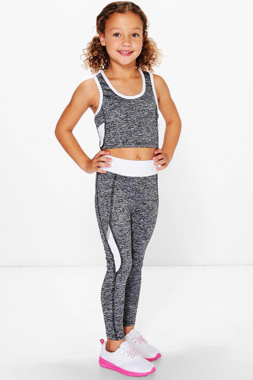 Product photo of Sports crop top and legging sports set white