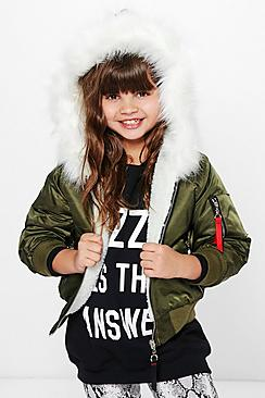 Girls Faux Fur Hooded Bomber jacket