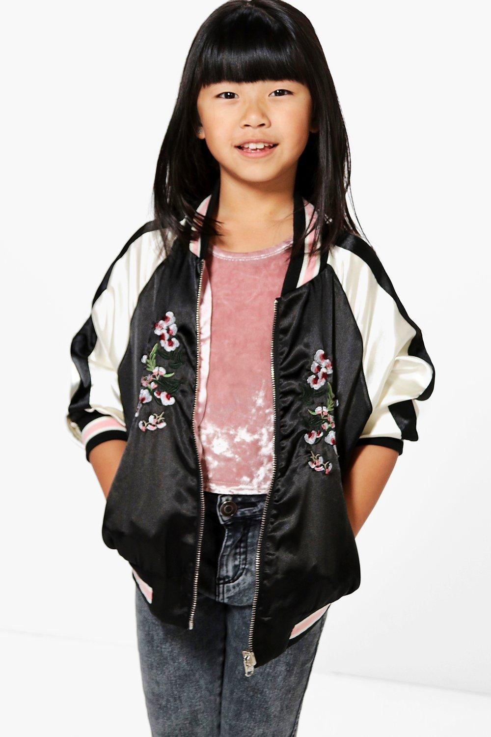 Girls Embroidered Bomber Jacket