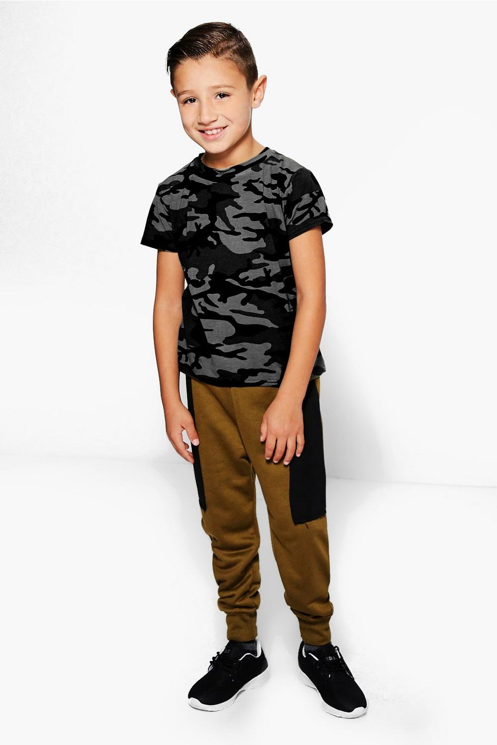 Boys Contrast Panel Joggers