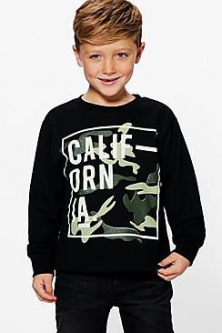Boys California Camo Sweat Top