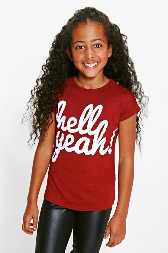 Girls Hell Yeah Turn Cuff T-Shirt