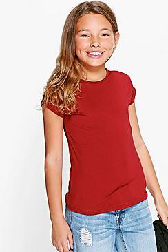 maglietta bambina con polsini risvoltati