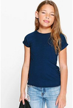Girls Turn Cuff Tee