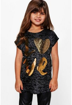 Girls Sequin Tee with Gold Print