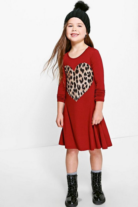 Girls Faux Fur Heart Print Swing Dress