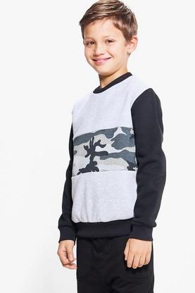 Boys Contrast Camo Sweat Top
