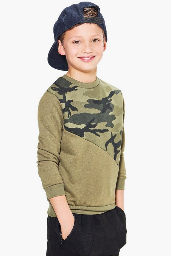 Boys Camo Sweat Top