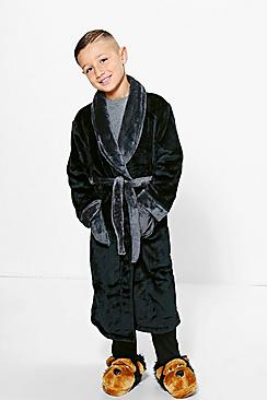 Boys Contrast Fleece Robe
