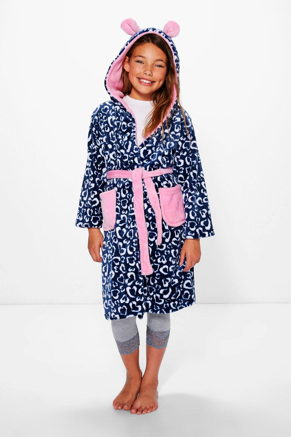 Girls Leopard Heart Fleece Robe