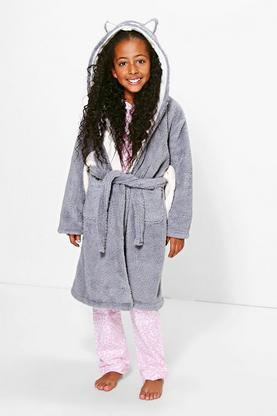 Girls Fleece Owl Robe