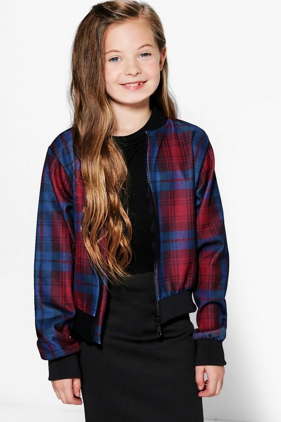 Girls Checked Bomber jacket