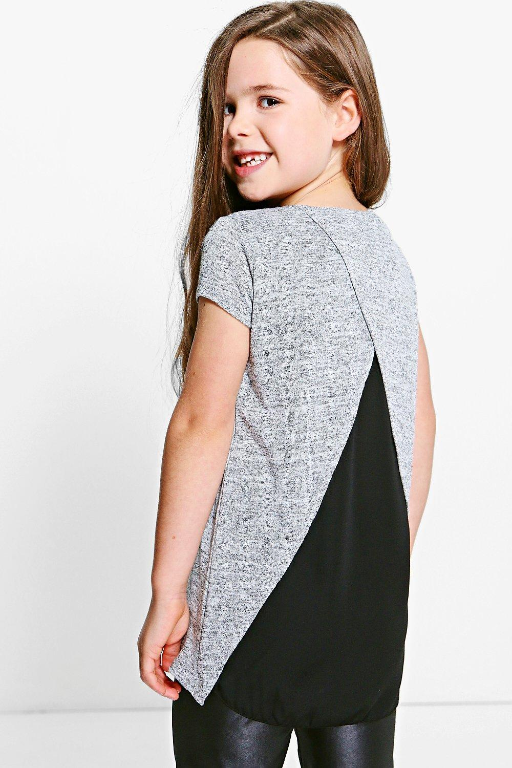 Knitted Front Chiffon Back Top - grey