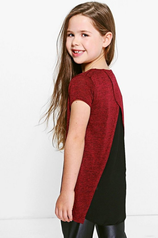 Girls Knitted Front Chiffon Back Top