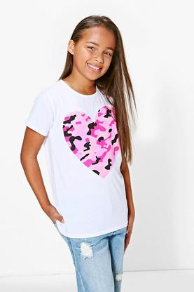 Girls Camo Heart Print Tee