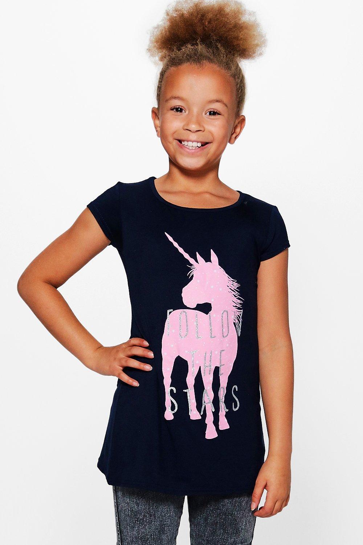 Product photo of Unicorn print tee navy