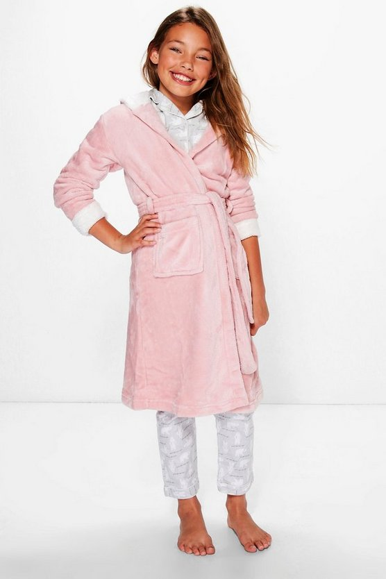 Girls Rabbit Applique Hooded Robe