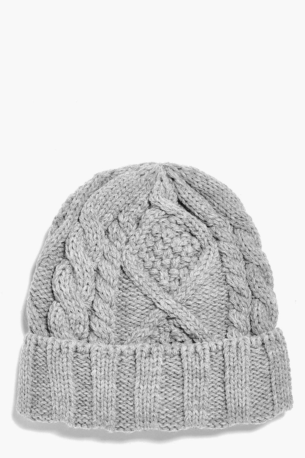 Cable Knit Beanie - grey - Girls Cable Knit Beanie