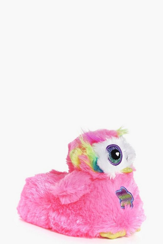 Girls Neon Owl Slipper