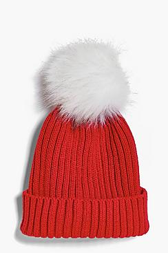 Girls Fur Pom Pom Hat