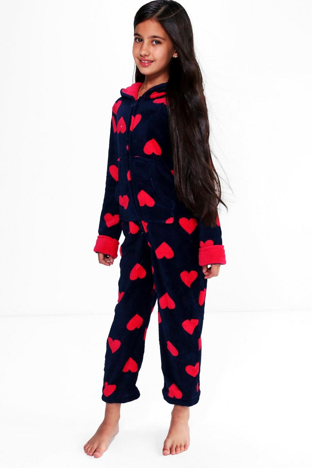 Girls Heart Print Fleece Onesie