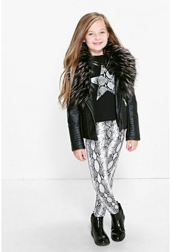Girls Faux Fur Collar Leather Look Jacket
