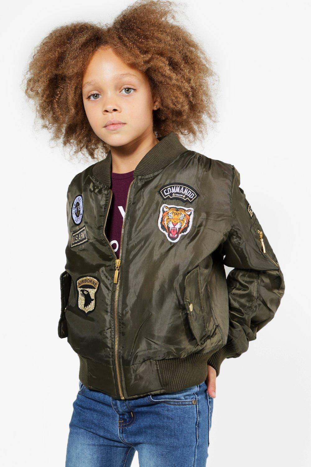 Girls MA1 Badged Bomber Jacket