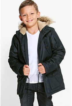 Boys Fully Padded Faux Fur Hooded Parka