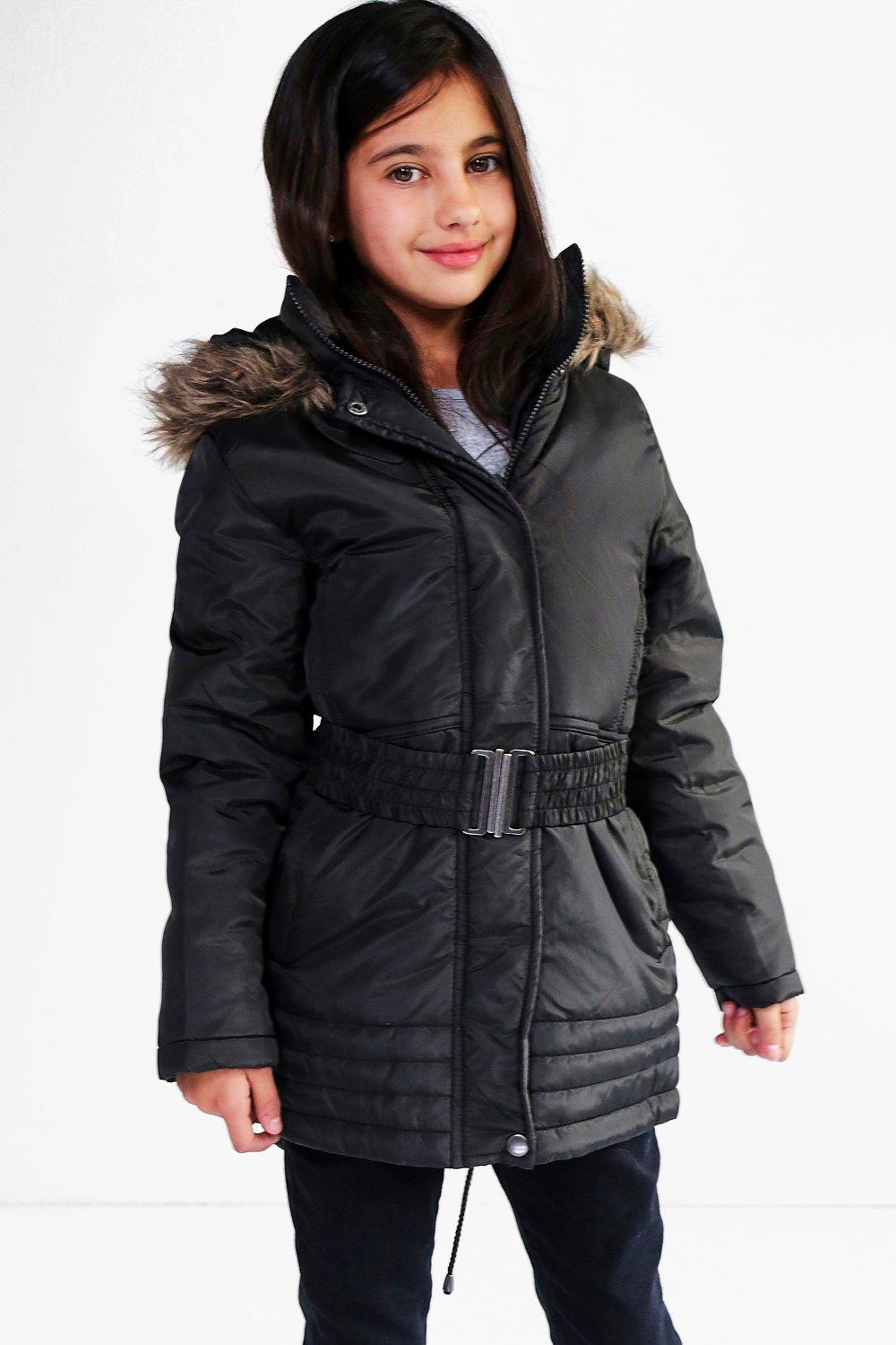 Girls Fully Padded Faux Fur Hooded Parka