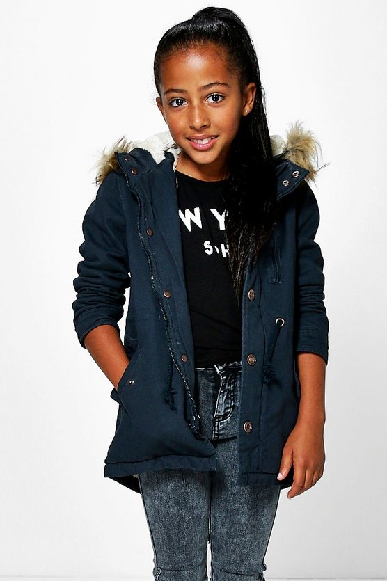 Girls Padded Faux Fur Hooded Parka