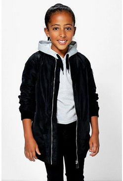 Girls Long Line Padded MA1 Bomber Jacket