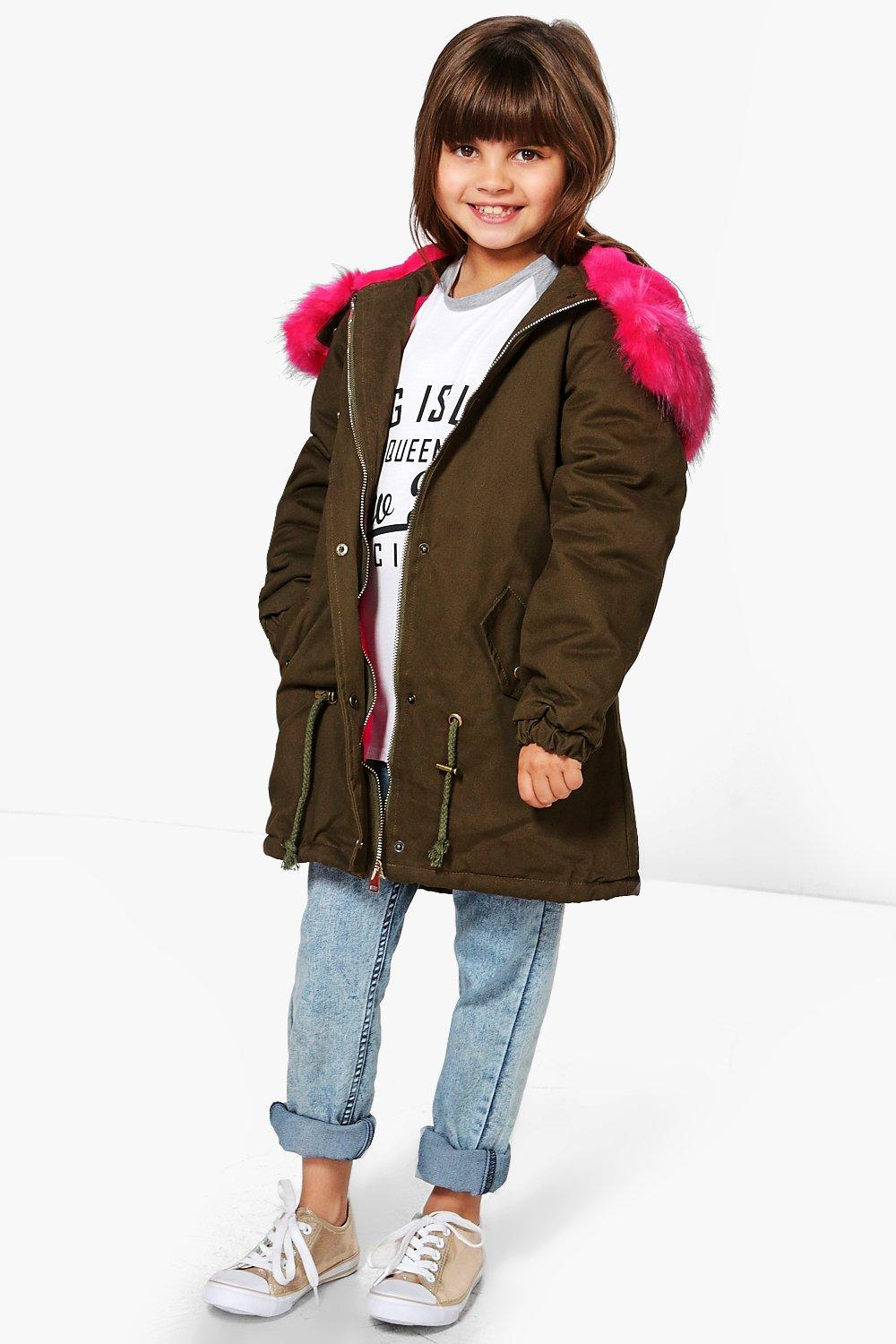 Girls Hot Pink Faux Fur Hooded Parka