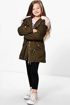 Girls Coloured Faux Fur Padded Parka
