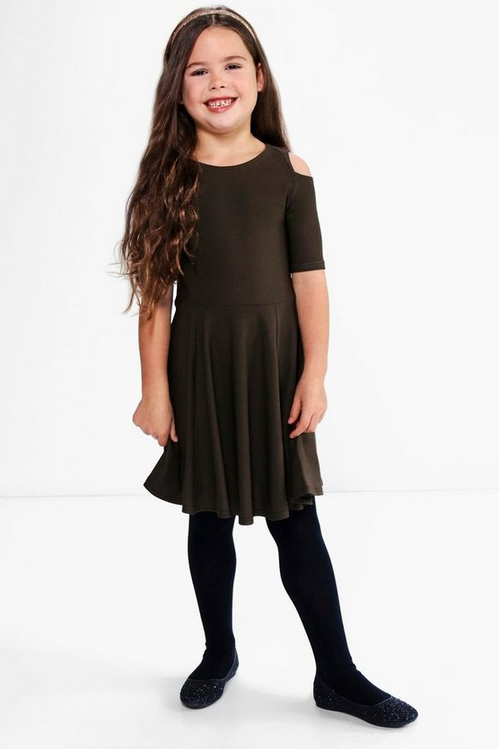 Girls Cold Shoulder Skater Dress