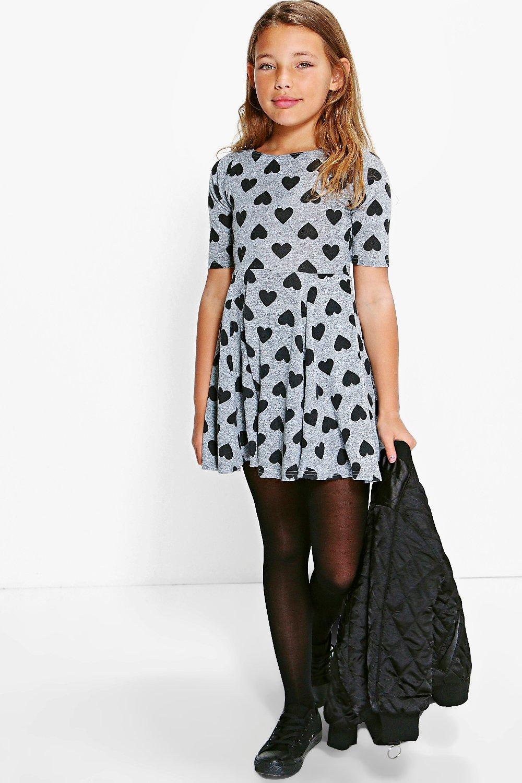 Heart Print Knitted Skater Dress - grey