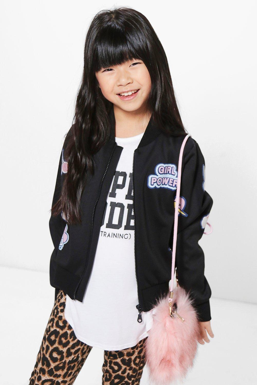 Badge Girl Power Bomber Jacket  black