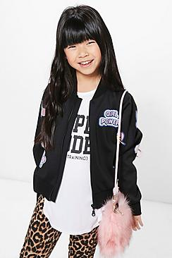 Girls Badge Girl Power Bomber Jacket