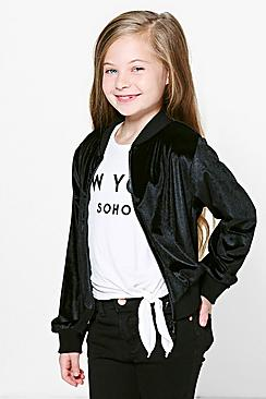 Girls Velvet Bomber Jacket