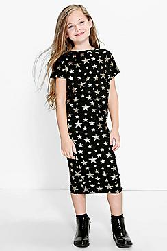 Girls Star Print Top And Skirt Set
