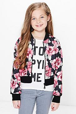 Girls Dark Floral Textured Bomber Jacket