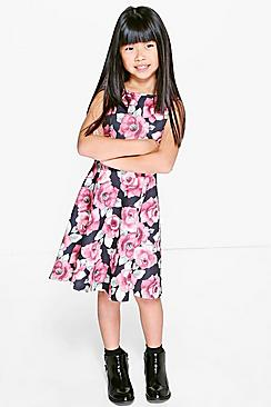 Girls Dark Floral Skater Dress