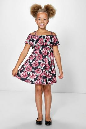 Girls Frill Dark Floral Skater Dress