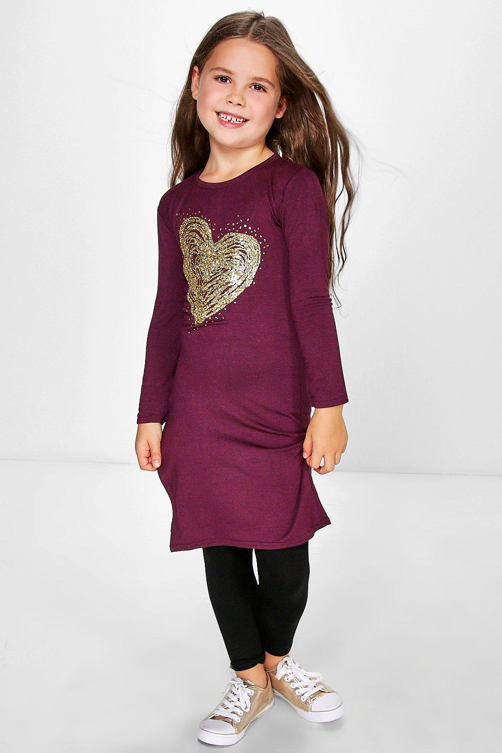 Girls Foil Heart Print Side Split Tunic